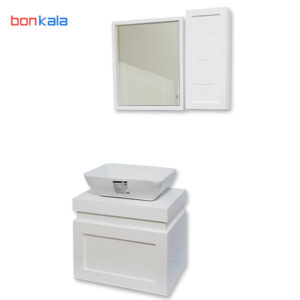 ست روشویی کابینتی و آینه باکس 60 در 40 با سنگ ساترون بدون شیر گاتریا